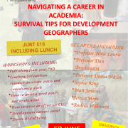 Poster for  NAVIGATING A CAREER IN ACADEMIA: SURVIVAL TIPS FOR DEVELOPMENT GEOGRAPHERS