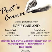 The poster of the Poet's Corner event and exhibition at Chetham's Library, 12th May 2016