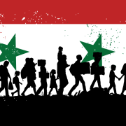 Syrian flag with silhouette of people walking.